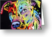 Bull Greeting Cards - Angel Pit Bull Greeting Card by Dean Russo