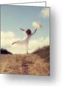 Windy Greeting Cards - Angel With Parasol Greeting Card by Joana Kruse