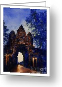 Iconography Painting Greeting Cards - Angkor Sunrise Greeting Card by Ryan Fox