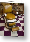 Checkered Greeting Cards - Antique Barber Chair 3 Greeting Card by Douglas Barnett