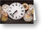 Size Different Greeting Cards - Antique clocks Greeting Card by Elena Elisseeva
