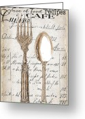 Eating Painting Greeting Cards - Antique Utensils for Kitchen and Dining in White Greeting Card by Grace Pullen
