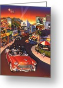 California Painting Greeting Cards - Ants on the Sunset Strip Greeting Card by Robin Moline