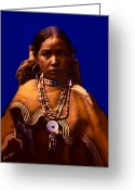 West Indian Mixed Media Greeting Cards - Apache Maiden Greeting Card by Tray Mead