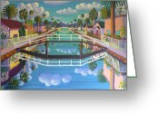 Canals Painting Greeting Cards - April on Retro Canal Greeting Card by Frank Strasser