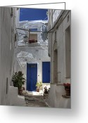 Flower Pots Greeting Cards - Apulia - blue-white Greeting Card by Joana Kruse
