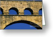 Sight Seeing Greeting Cards - Aqueduc du Pont du Gard.Provence Greeting Card by Bernard Jaubert