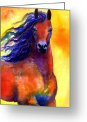 Fine Art Watercolor Drawings Greeting Cards - Arabian horse 1 painting Greeting Card by Svetlana Novikova