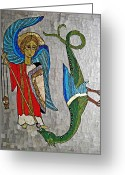 Red White And Blue Mixed Media Greeting Cards - Archangel Michael and the Dragon    Greeting Card by Sarah Loft