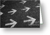 Guidance Greeting Cards - Arrows on Asphalt Greeting Card by Carlos Caetano