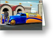 Tanker Greeting Cards - Art Deco Gas Truck Greeting Card by Stuart Swartz