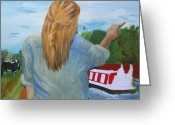 Shores Painting Greeting Cards - Artist At Work Greeting Card by Abbie Shores