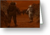 Discovery Channel Greeting Cards - Artists Concept Of Astronauts Exploring Greeting Card by Walter Myers