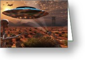 Flying Saucer Greeting Cards - Artists Concept Of Stealth Technology Greeting Card by Mark Stevenson