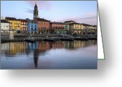 Sunset Light Greeting Cards - Ascona at night Greeting Card by Joana Kruse
