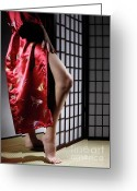 Shoji Screen Greeting Cards - Asian Woman in Red Kimono Greeting Card by Oleksiy Maksymenko