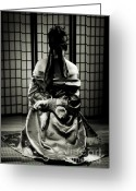 Shoji Screen Greeting Cards - Asian Woman with Her Hands Tied Behind Her Back Greeting Card by Oleksiy Maksymenko