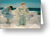 Sat Painting Greeting Cards - Ask me no more Greeting Card by Sir Lawrence Alma-Tadema
