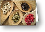 Peppers Greeting Cards - Assorted peppercorns Greeting Card by Elena Elisseeva