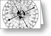Bizarre Digital Art Greeting Cards - Astronomical Clock Greeting Card by Michal Boubin