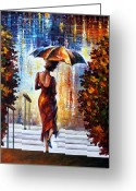 Making Out Greeting Cards - At The Steps Greeting Card by Leonid Afremov