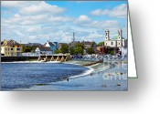 Colour Image Greeting Cards - Athlone city and Shannon river Greeting Card by Gabriela Insuratelu