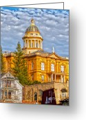 Historic Site Greeting Cards - Auburn Courthouse Greeting Card by Cheryl Young