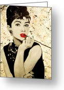 Anthony Jensen Greeting Cards - Audrey Hepburn Greeting Card by Anthony Jensen