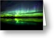 Glow Greeting Cards - Aurora Borealis Near The Village Greeting Card by Zoltan Kenwell