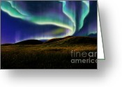 Polaris Greeting Cards - Aurora On Field Greeting Card by Atiketta Sangasaeng