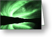 Polaris Greeting Cards - Aurora Greeting Card by Setsiri Silapasuwanchai