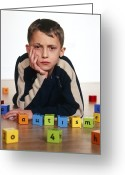 Autistic Greeting Cards - Autistic Boy Greeting Card by Kevin Curtis