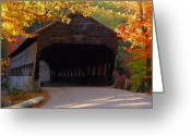 Evening Scenes Digital Art Greeting Cards - Autumn Bridge Greeting Card by William Carroll