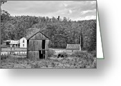 Shed Greeting Cards - Autumn Farm monochrome Greeting Card by Steve Harrington