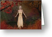 Reds Mixed Media Greeting Cards - Autumn Fey Greeting Card by Maggie  Smith