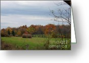 Haystack Framed Prints Greeting Cards - Autumn in the country with haystacks in the field. Greeting Card by Patricia Crow