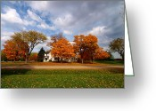 Blue House Greeting Cards - Autumn is colorful Greeting Card by Mingqi Ge