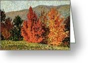 Turning Leaves Greeting Cards - Autumn Landscape Greeting Card by Henri-Edmond Cross