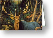 Deer Greeting Cards - Autumn Majesty Greeting Card by Crista Forest