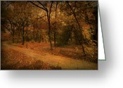 Light Green Digital Art Greeting Cards - Autumn Path Greeting Card by Svetlana Sewell