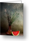 Watermelon Photo Greeting Cards - Autumn Still Life Greeting Card by Nailia Schwarz