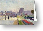 Tuileries Greeting Cards - Avenue Paul Deroulede Greeting Card by Jules Ernest Renoux