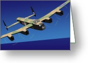 Raf Digital Art Greeting Cards - Avro Lancaster Bomber Greeting Card by Michael Tompsett