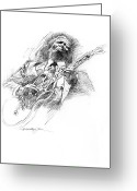 Featured Drawings Greeting Cards - B B KING and LUCILLE Greeting Card by David Lloyd Glover