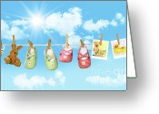 Clothesline Greeting Cards - Baby shoes and teddy bear on clothline Greeting Card by Sandra Cunningham