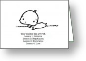 Baby Girl Greeting Cards - Baby Teacher Greeting Card by Leanne Wilkes