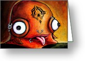 Fantasy Creatures Painting Greeting Cards - Bad Boy Glob Greeting Card by Leanne Wilkes
