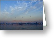 Nile River Greeting Cards - Ballooning Over the Nile Greeting Card by Michele Burgess