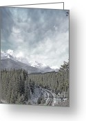 Snow Capped Greeting Cards - Banff Rail Greeting Card by Andrea Hazel Ihlefeld