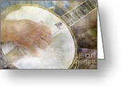 Banjo Greeting Cards - Banjo - D002330-a Greeting Card by Daniel Dempster